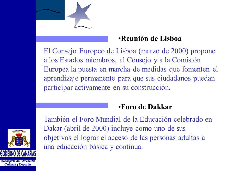 Foro de Dakkar Reunión de Lisboa El Consejo Europeo de Lisboa (marzo de 2000) propone a los Estados miembros, al Consejo y a la Comisión Europea la puesta en marcha de medidas que fomenten el aprendizaje permanente para que sus ciudadanos puedan participar activamente en su construcción.