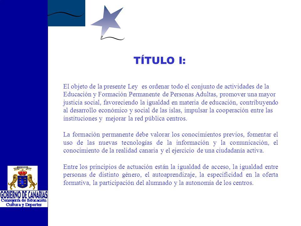 ANTEPROYECTO DE LEY DE EDUCACIÓN Y FORMACIÓN PERMANENTE DE PERSONAS ADULTAS DE CANARIAS 1.- DISPOSICIONES GENERALES 2.- DE LA PROMOCIÓN Y ORDENACIÓN DE LA EDUCACIÓN Y FORMACIÓN PERMANENTE DE PERSONAS ADULTAS 3.- DE LA EDUCACIÓN NO PRESENCIAL.