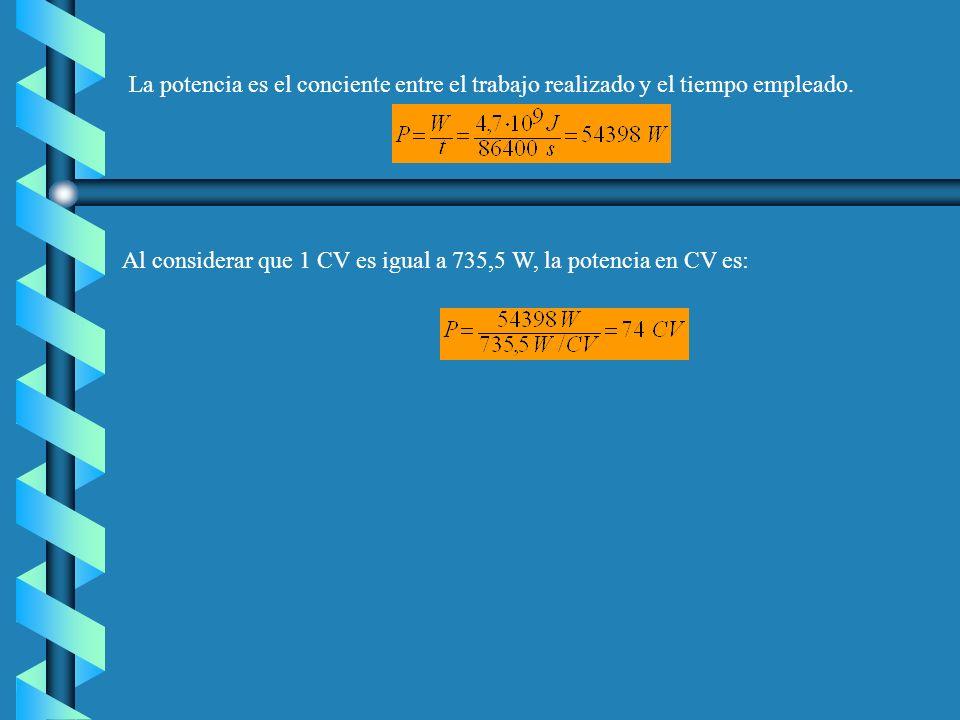 Solución: a)Tomando como referencia de altura el nivel del río, la energía potencial gravitatoria inicial del agua es cero.Al elevar el agua aumenta l