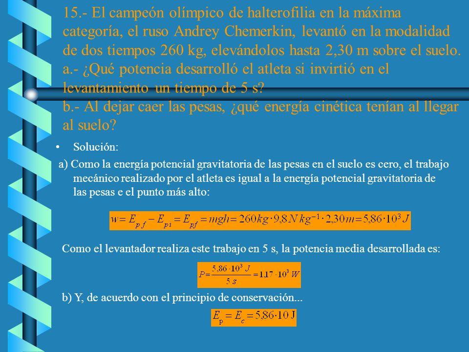 c)Puesto que la energía mecánica permanece constante, su valor al llgar al suelo es 44,2J. Pero ahora, la altura es cero y, por lo tanto, la energía p