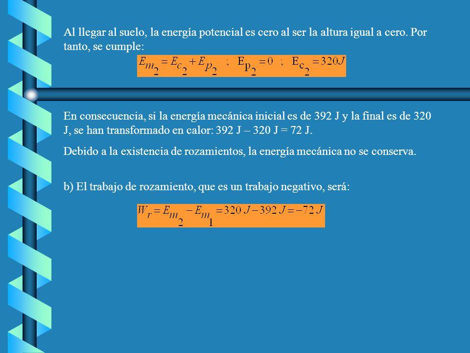 21) Un cuerpo de masa m = 8 kg inicia el deslizamiento por un plano desde un punto situado a 5 m de altura sobre el suelo. Su energía cinética cuando