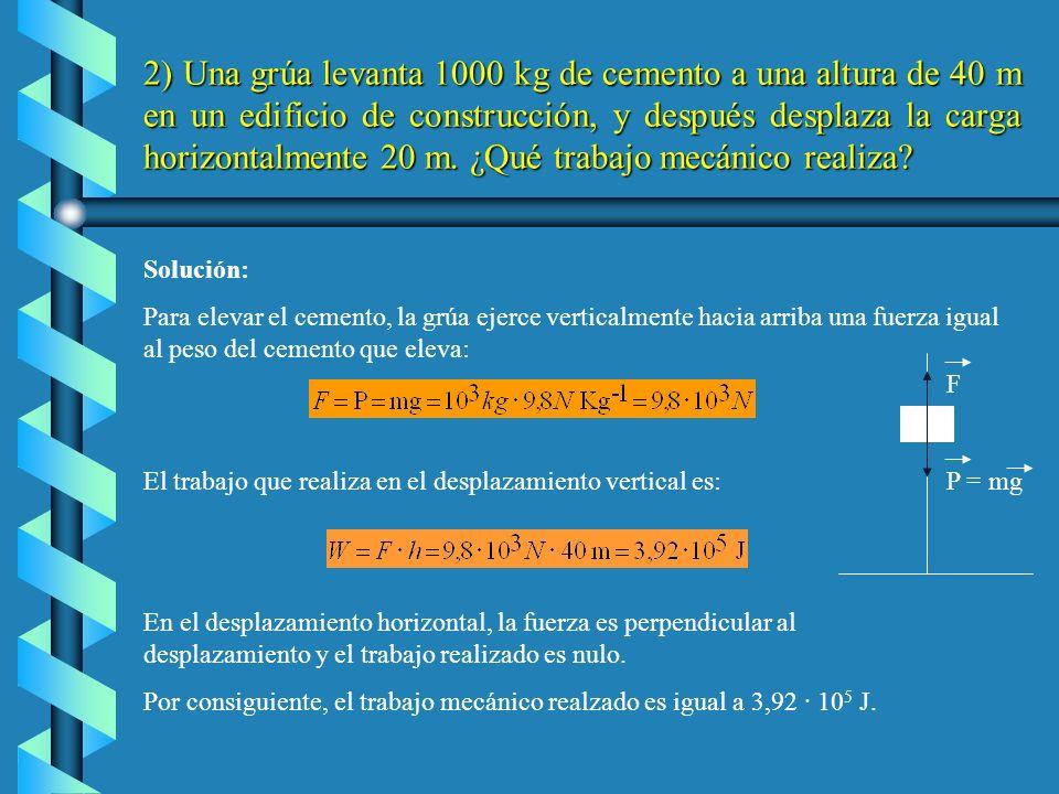 c) La fuerza y el desplazamiento son perpendiculares, forman un ángulo de 90º, y como cos 90ºes igual a cero, el trabajo es nulo: d ) En la definición