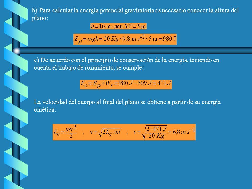22) Un cuerpo de 20 Kg resbala a lo largo de un plano inclinado 30º sobre la horizontal. La longitud del plano es de 10 m y el coeficiente de rozamien