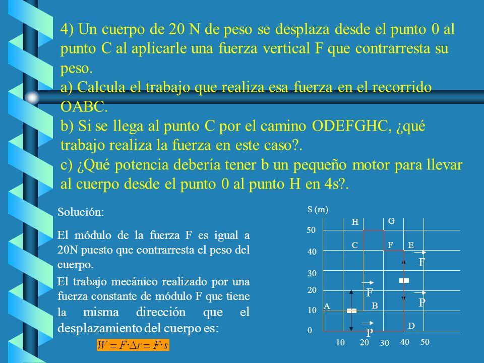 4) Un cuerpo de 20 N de peso se desplaza desde el punto 0 al punto C al aplicarle una fuerza vertical F que contrarresta su peso.