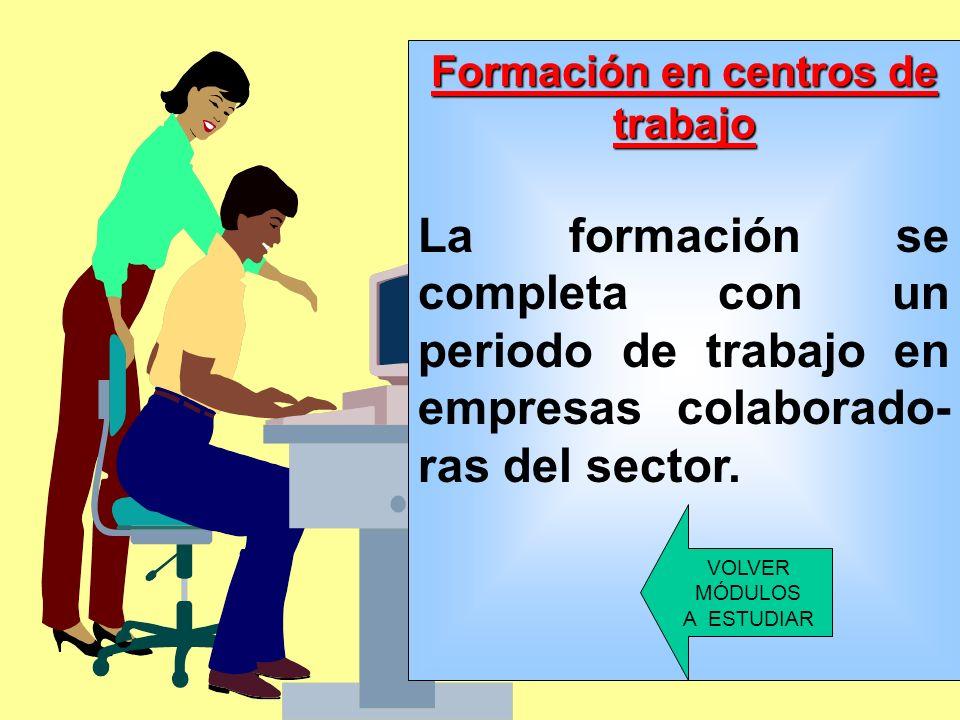 VOLVER MÓDULOS A ESTUDIAR Formación en Centros de Trabajo: Desarrollo y puesta en práctica en el trabajo de todas aquellas capacidades, actitudes, hab