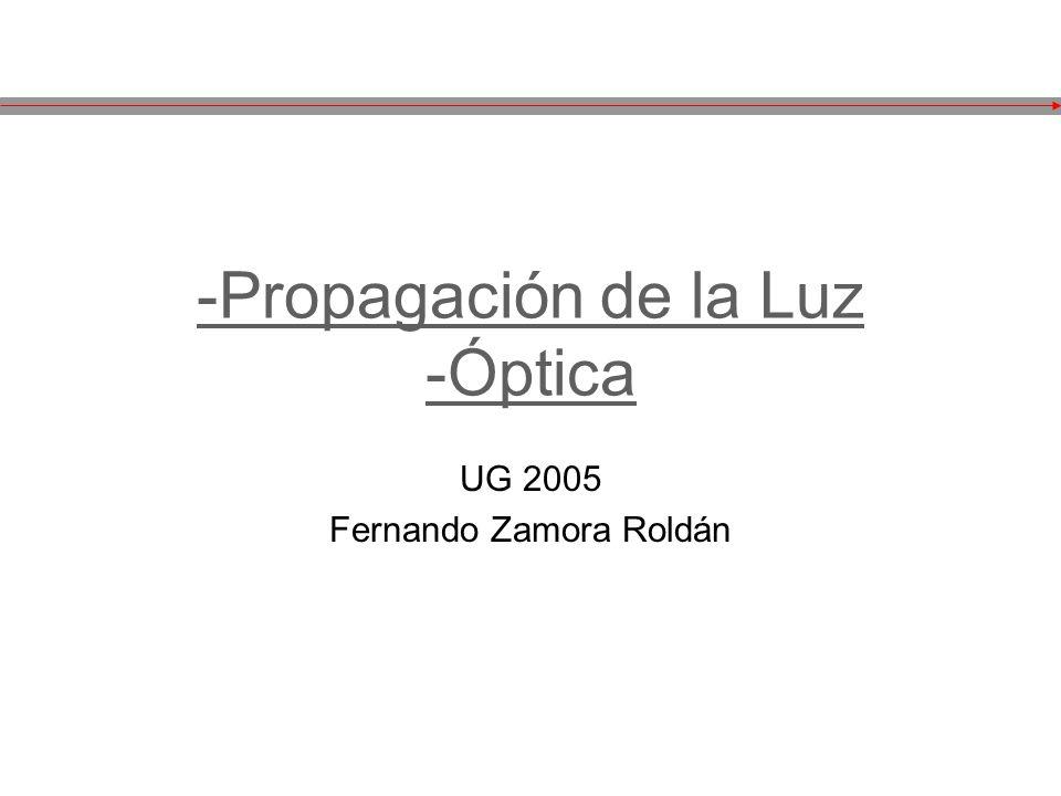 -Propagación de la Luz -Óptica UG 2005 Fernando Zamora Roldán
