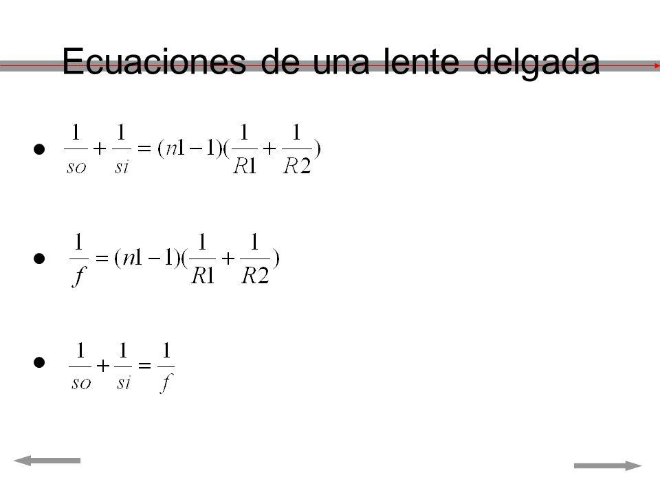 Ecuaciones de una lente delgada