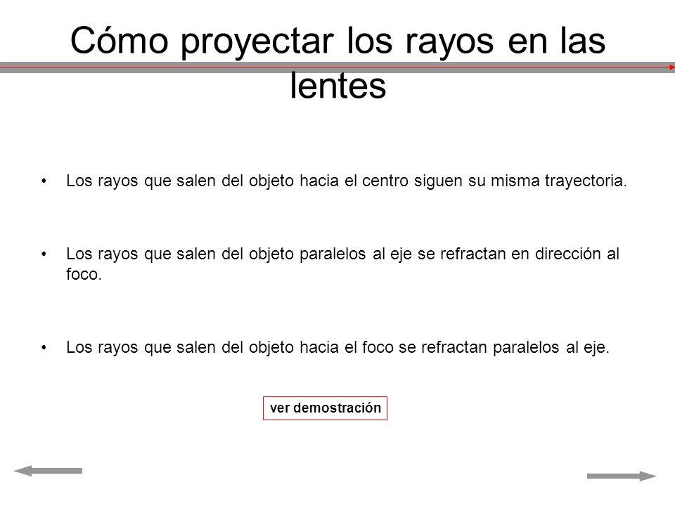 Cómo proyectar los rayos en las lentes Los rayos que salen del objeto hacia el centro siguen su misma trayectoria. Los rayos que salen del objeto para
