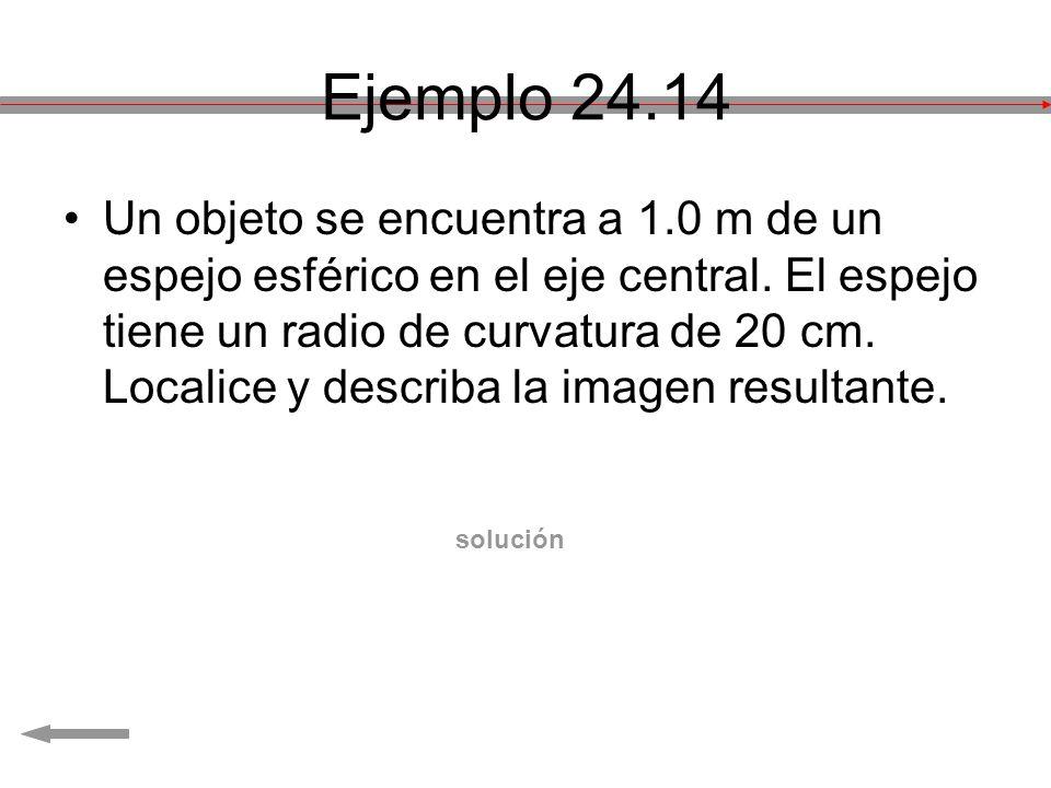 Ejemplo 24.14 Un objeto se encuentra a 1.0 m de un espejo esférico en el eje central. El espejo tiene un radio de curvatura de 20 cm. Localice y descr