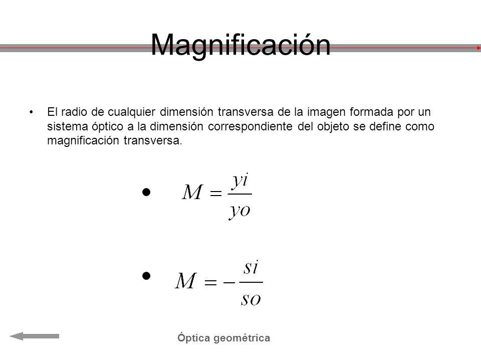 Magnificación El radio de cualquier dimensión transversa de la imagen formada por un sistema óptico a la dimensión correspondiente del objeto se defin
