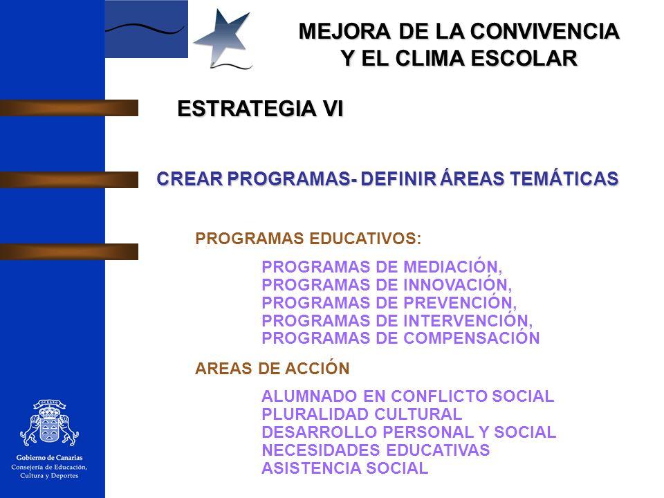 MEJORA DE LA CONVIVENCIA Y EL CLIMA ESCOLAR ESTRATEGIA VI CREAR PROGRAMAS- DEFINIR ÁREAS TEMÁTICAS PROGRAMAS EDUCATIVOS: PROGRAMAS DE MEDIACIÓN, PROGR