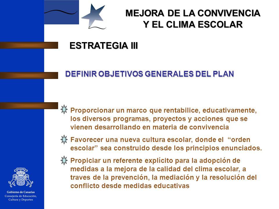 MEJORA DE LA CONVIVENCIA Y EL CLIMA ESCOLAR ESTRATEGIA III DEFINIR OBJETIVOS GENERALES DEL PLAN Proporcionar un marco que rentabilice, educativamente,