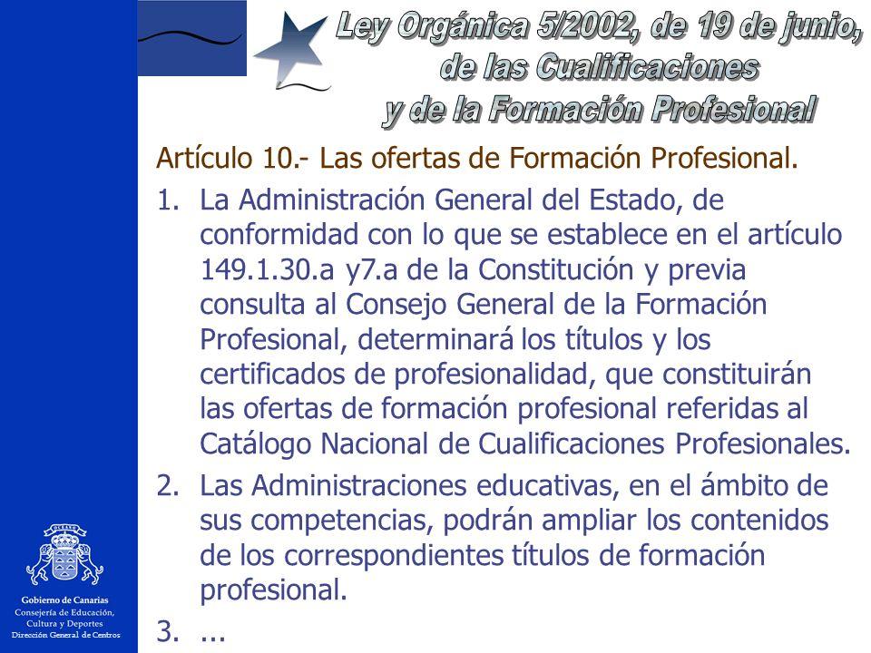 Dirección General de Centros Artículo 10.- Las ofertas de Formación Profesional.