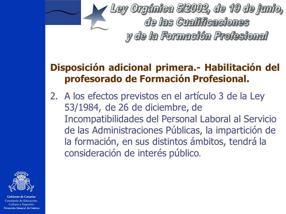 Dirección General de Centros Disposición adicional primera.- Habilitación del profesorado de Formación Profesional.