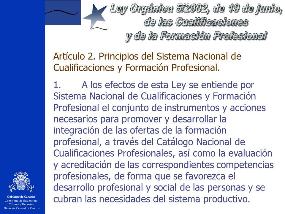 Dirección General de Centros Artículo 2.