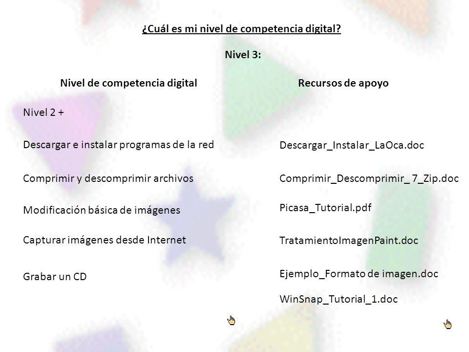 ¿Cuál es mi nivel de competencia digital? Nivel de competencia digitalRecursos de apoyo Nivel 3: Nivel 2 + Descargar e instalar programas de la red Co