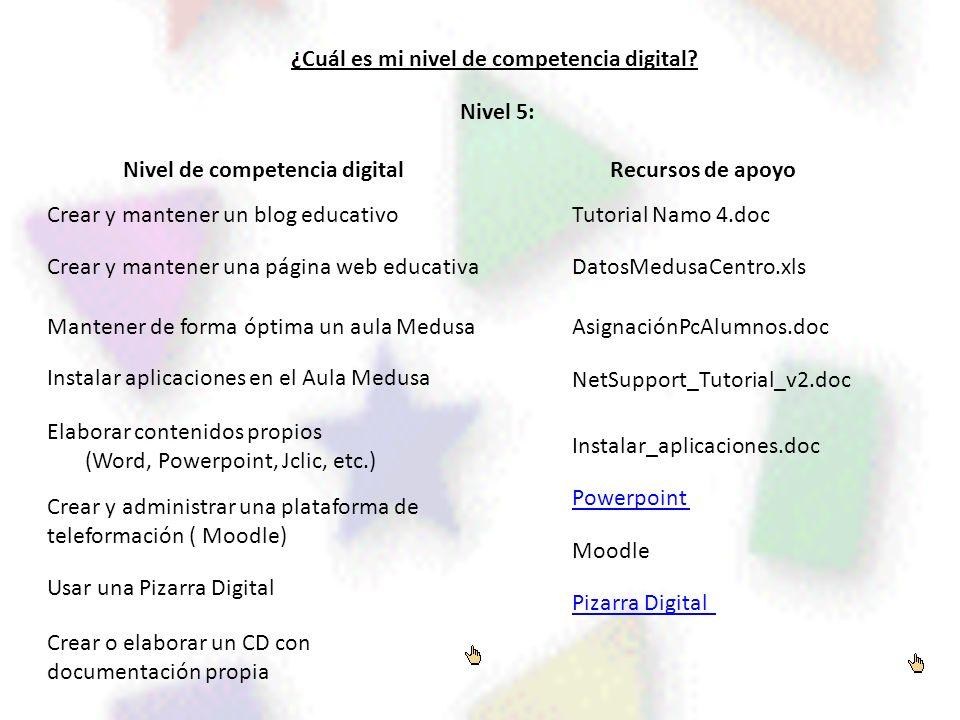 ¿Cuál es mi nivel de competencia digital? Nivel de competencia digitalRecursos de apoyo Nivel 5: Crear o elaborar un CD con documentación propia Crear