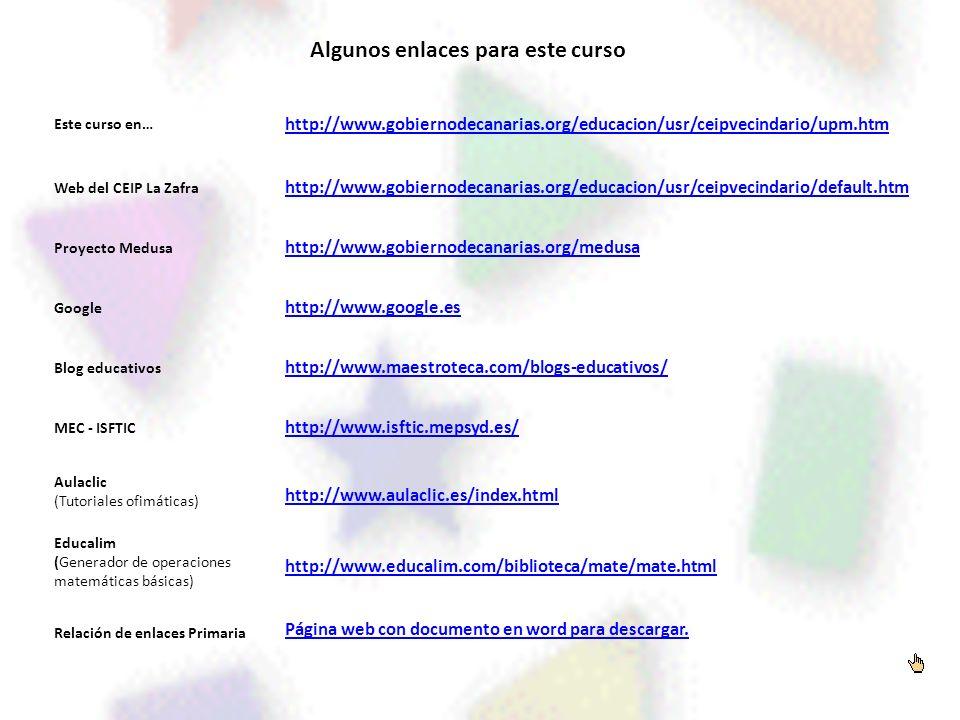 Algunos enlaces para este curso Este curso en… http://www.gobiernodecanarias.org/educacion/usr/ceipvecindario/upm.htm Web del CEIP La Zafra http://www