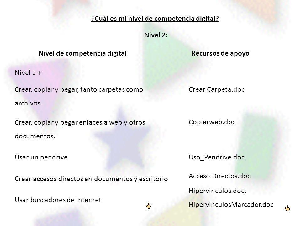 ¿Cuál es mi nivel de competencia digital? Nivel de competencia digitalRecursos de apoyo Nivel 2: Nivel 1 + Crear, copiar y pegar, tanto carpetas como