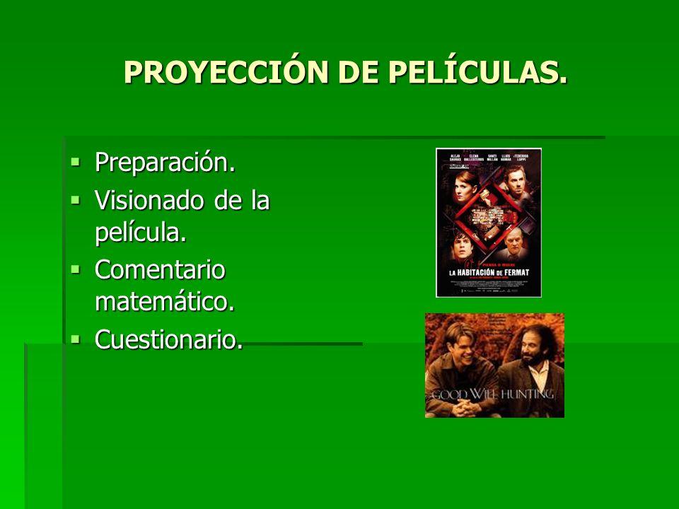 PROYECCIÓN DE PELÍCULAS. Preparación. Preparación. Visionado de la película. Visionado de la película. Comentario matemático. Comentario matemático. C