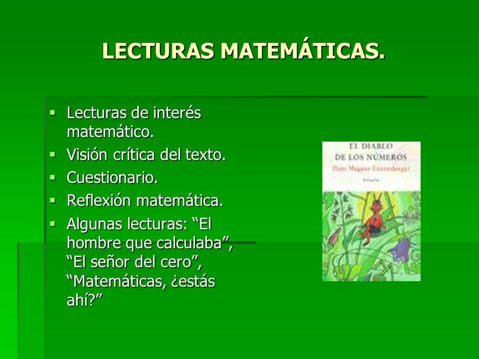 LECTURAS MATEMÁTICAS. Lecturas de interés matemático. Lecturas de interés matemático. Visión crítica del texto. Visión crítica del texto. Cuestionario