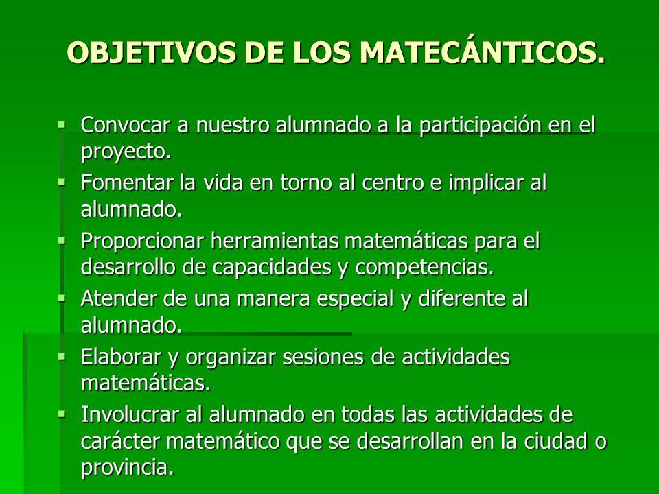 OBJETIVOS DE LOS MATECÁNTICOS. Convocar a nuestro alumnado a la participación en el proyecto. Convocar a nuestro alumnado a la participación en el pro