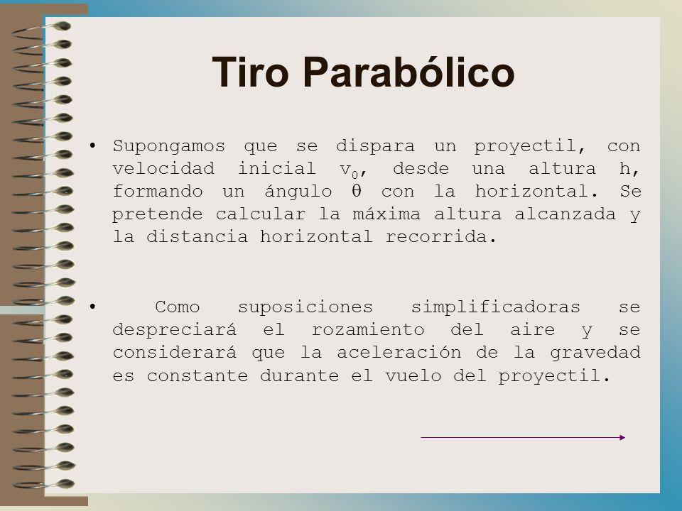 Tiro Parabólico Supongamos que se dispara un proyectil, con velocidad inicial v 0, desde una altura h, formando un ángulo con la horizontal.