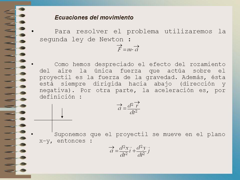 Ecuaciones del movimiento Para resolver el problema utilizaremos la segunda ley de Newton : Como hemos despreciado el efecto del rozamiento del aire la única fuerza que actúa sobre el proyectil es la fuerza de la gravedad.