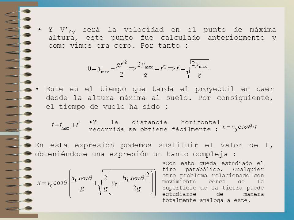 a) Distancia horizontal. Ahora queremos calcular la distancia horizontal que recorre el proyectil. Esta distancia viene dada por la expresión : donde