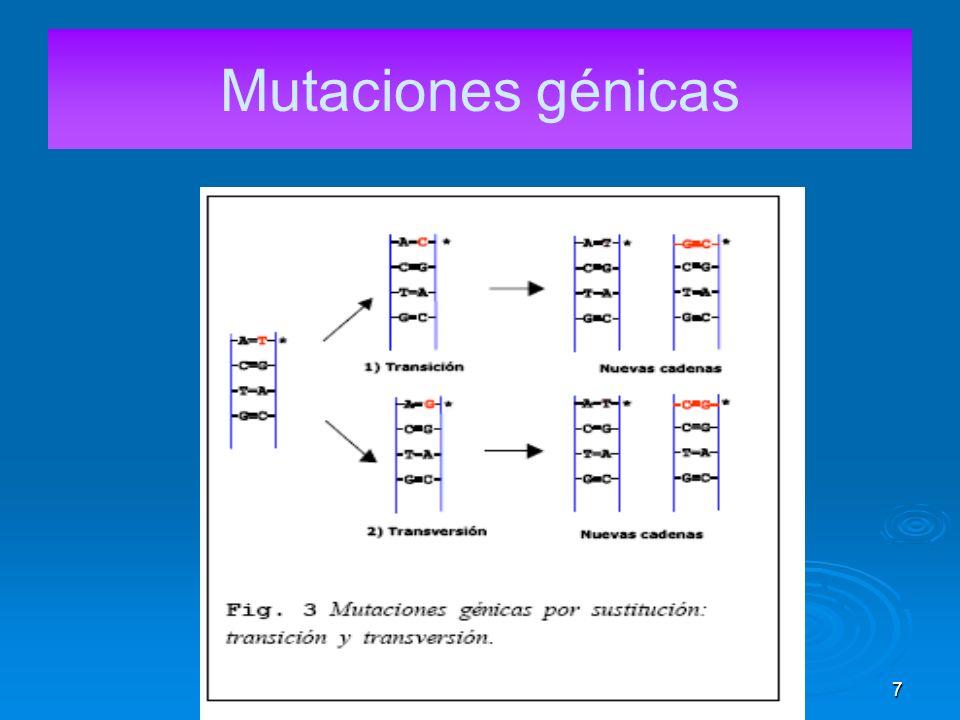 17 Mutaciones cromosómicas numéricas b) Aneuploidias: Se dan cuando está afectada sólo una parte del juego cromosómico y el zigoto presenta cromosomas de más o de menos.