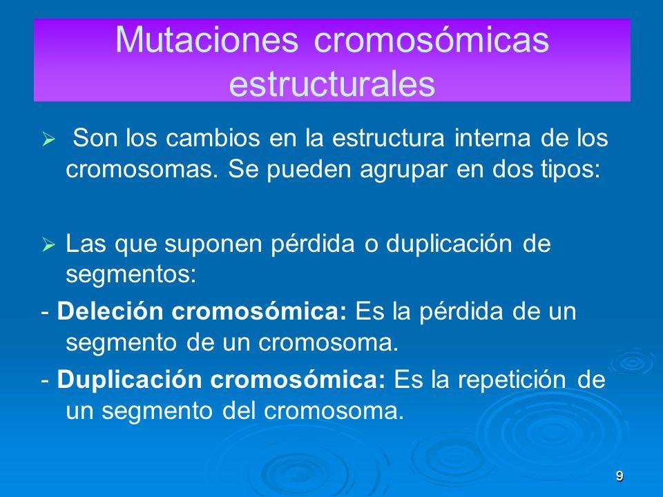 9 Mutaciones cromosómicas estructurales Son los cambios en la estructura interna de los cromosomas.