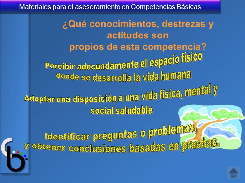 Materiales para el asesoramiento en Competencias Básicas ¿Qué conocimientos, destrezas y actitudes son propios de esta competencia?