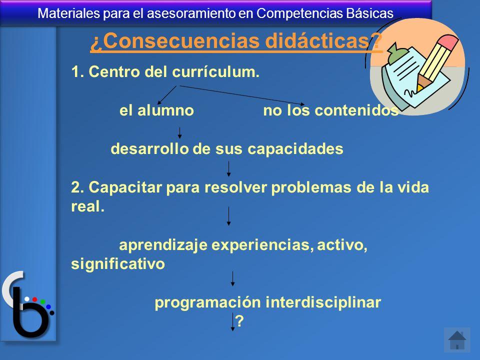 Materiales para el asesoramiento en Competencias Básicas ¿Consecuencias didácticas? 1. Centro del currículum. el alumnono los contenidos desarrollo de