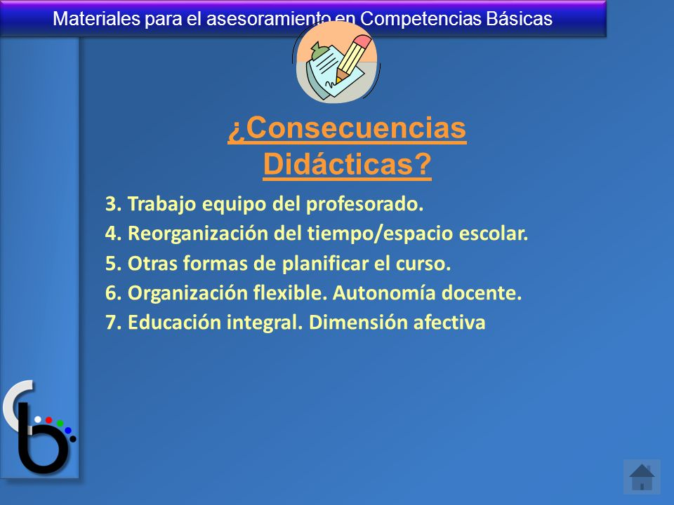 Materiales para el asesoramiento en Competencias Básicas 3. Trabajo equipo del profesorado. 4. Reorganización del tiempo/espacio escolar. 5. Otras for