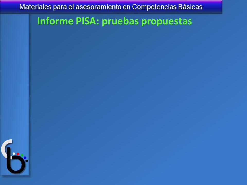 Materiales para el asesoramiento en Competencias Básicas Informe PISA: pruebas propuestas