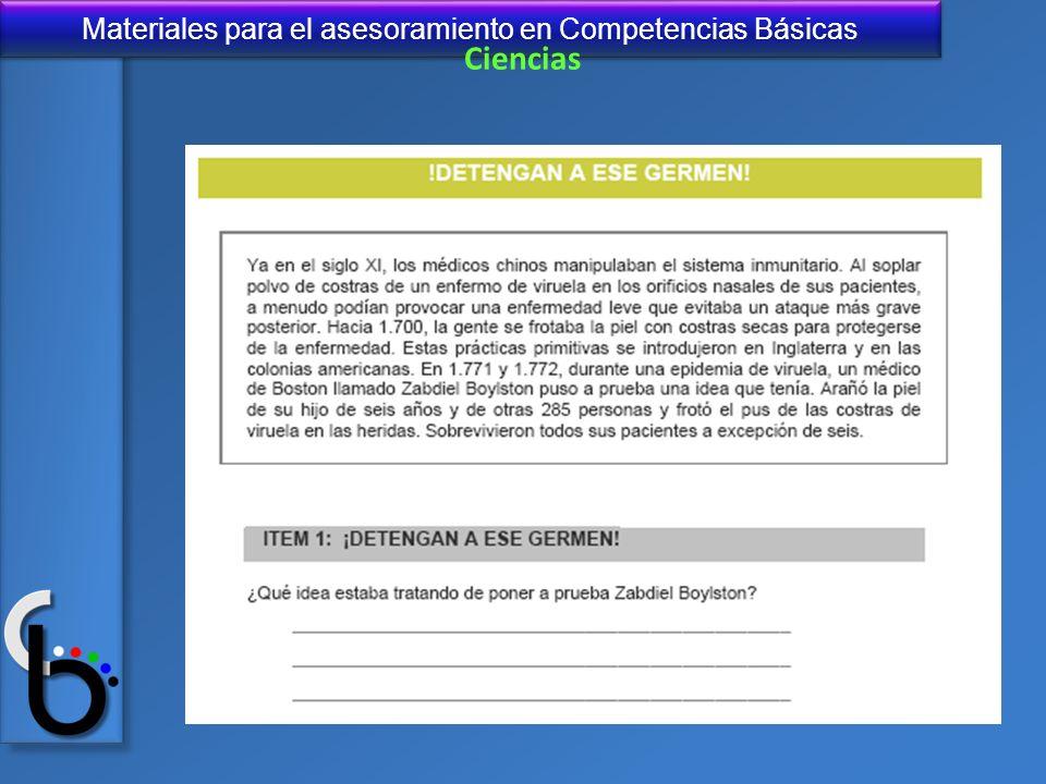 Materiales para el asesoramiento en Competencias Básicas Ciencias