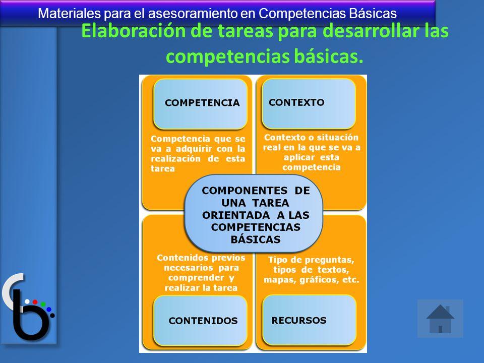 Materiales para el asesoramiento en Competencias Básicas Elaboración de tareas para desarrollar las competencias básicas.