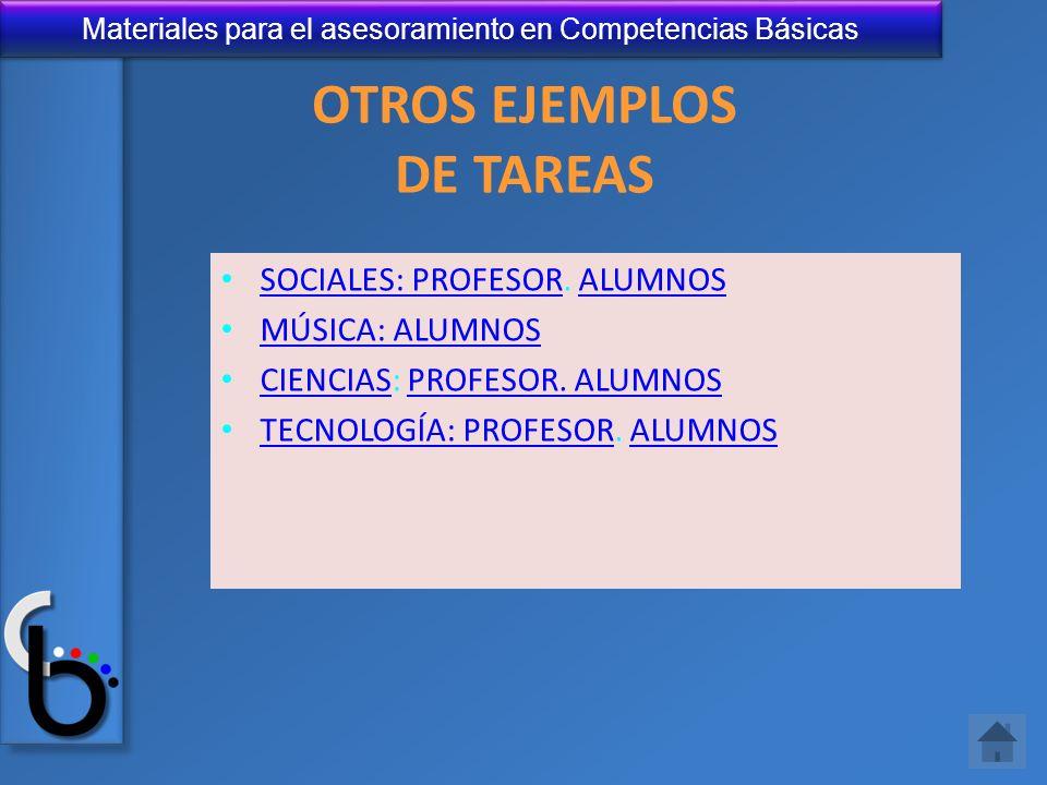 Materiales para el asesoramiento en Competencias Básicas OTROS EJEMPLOS DE TAREAS SOCIALES: PROFESOR. ALUMNOS SOCIALES: PROFESORALUMNOS MÚSICA: ALUMNO