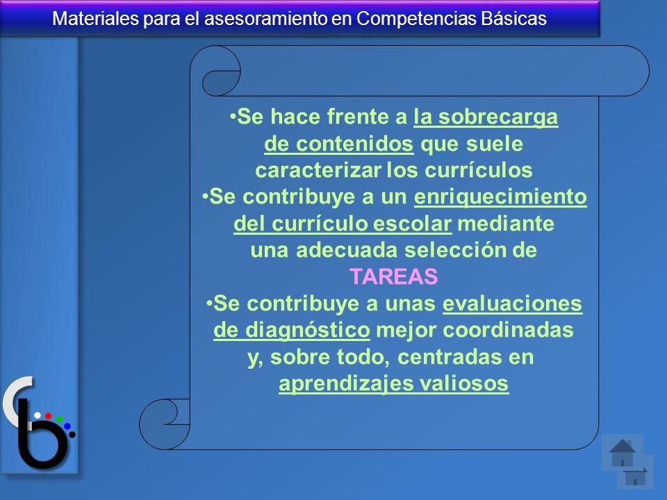 Materiales para el asesoramiento en Competencias Básicas Se hace frente a la sobrecarga de contenidos que suele caracterizar los currículos Se contrib