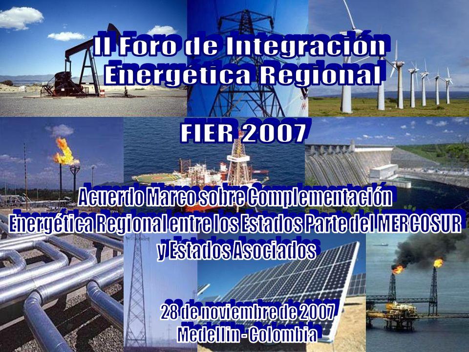 ACUERDO MARCO SOBRE COMPLEMENTACIÓN ENERGÉTICA Otorgantes MERCOSUR Colombia Chile Ecuador Venezuela