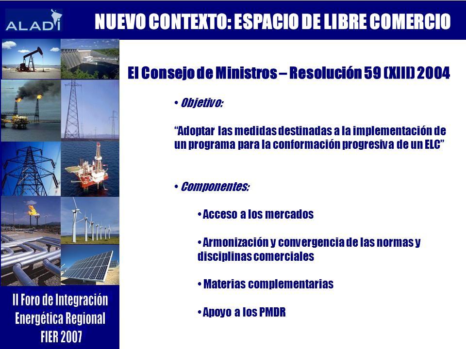 NUEVO CONTEXTO: ESPACIO DE LIBRE COMERCIO El Consejo de Ministros – Resolución 59 (XIII) 2004 Objetivo: Adoptar las medidas destinadas a la implementa