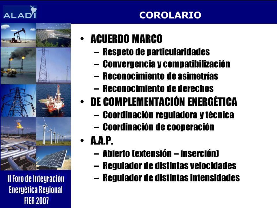 COROLARIO ACUERDO MARCO –Respeto de particularidades –Convergencia y compatibilización –Reconocimiento de asimetrías –Reconocimiento de derechos DE CO