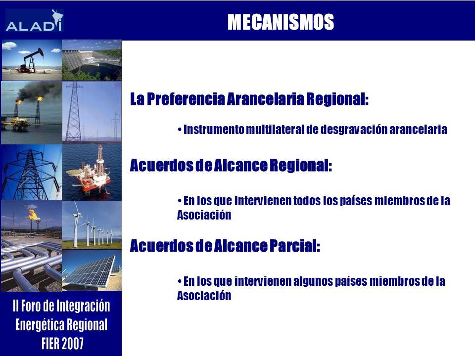 MECANISMOS La Preferencia Arancelaria Regional: Instrumento multilateral de desgravación arancelaria Acuerdos de Alcance Regional: En los que intervie