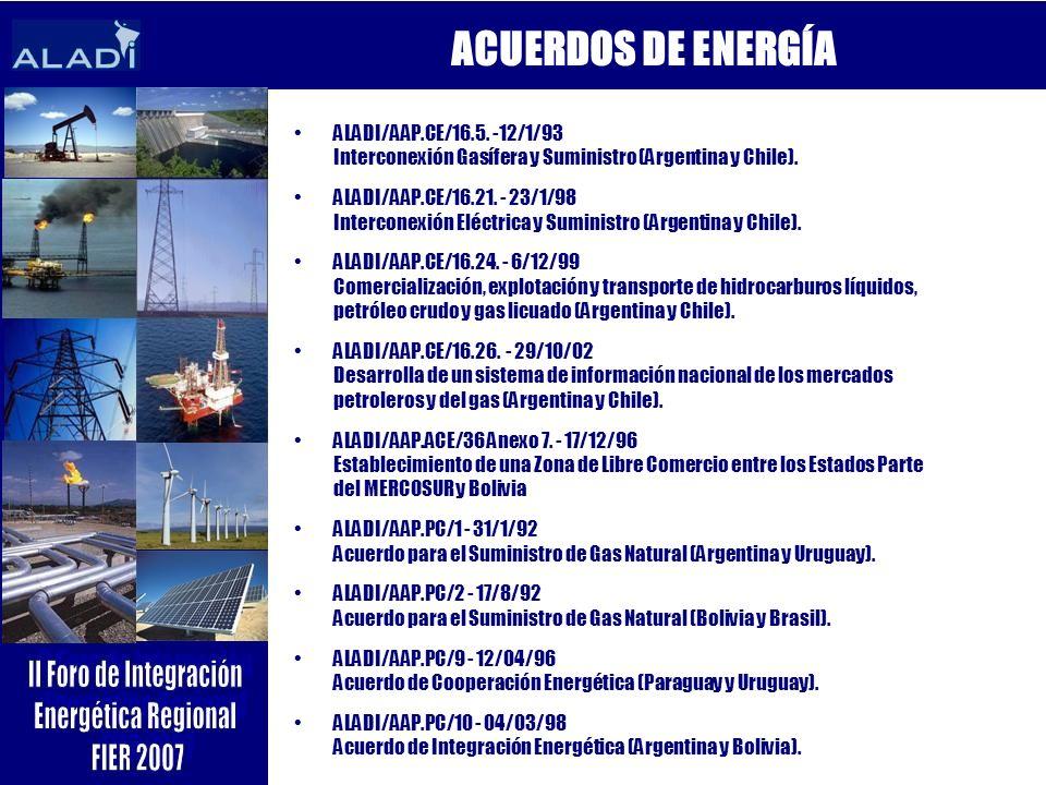 ALADI/AAP.CE/16.5. -12/1/93 Interconexión Gasífera y Suministro (Argentina y Chile). ALADI/AAP.CE/16.21. - 23/1/98 Interconexión Eléctrica y Suministr
