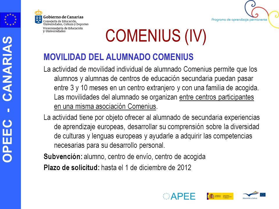 OPEEC - CANARIAS MOVILIDAD DEL ALUMNADO COMENIUS La actividad de movilidad individual de alumnado Comenius permite que los alumnos y alumnas de centro