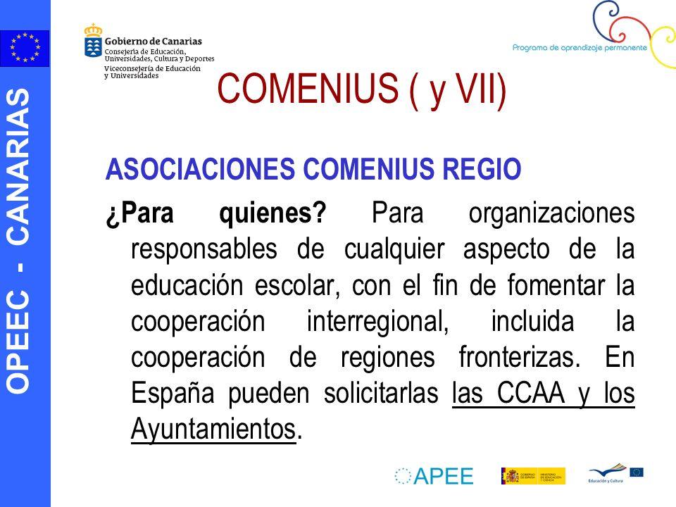 OPEEC - CANARIAS COMENIUS ( y VII) ASOCIACIONES COMENIUS REGIO ¿Para quienes? Para organizaciones responsables de cualquier aspecto de la educación es