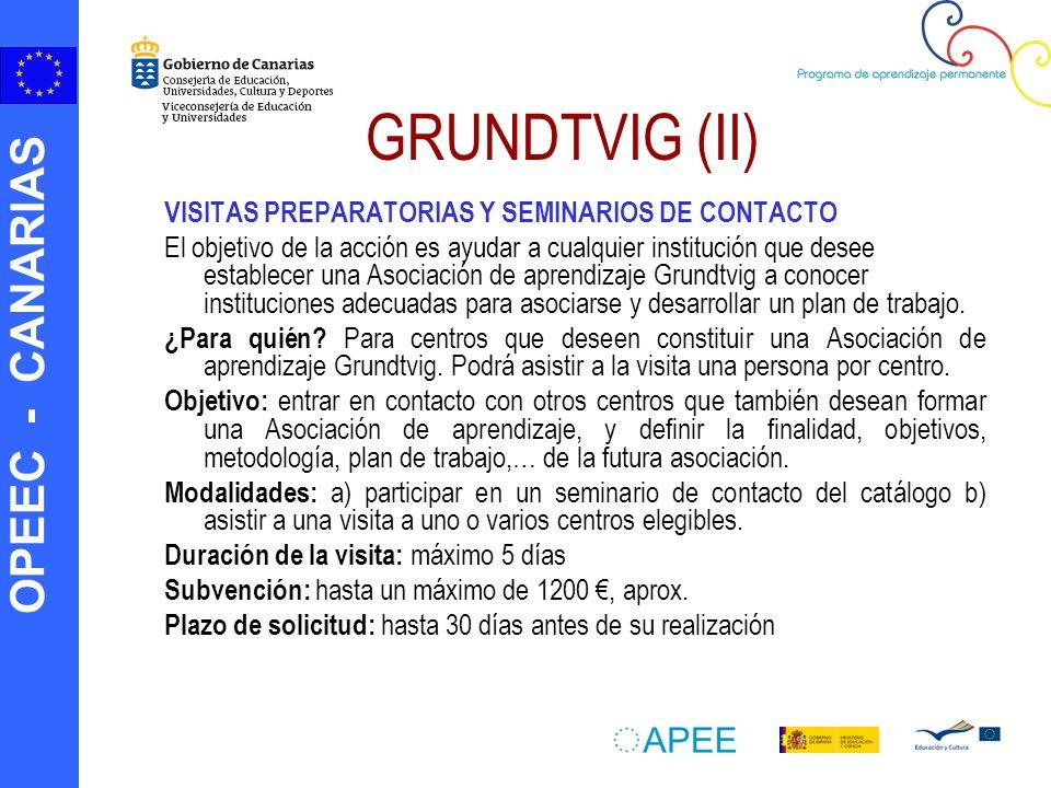 OPEEC - CANARIAS GRUNDTVIG (II) VISITAS PREPARATORIAS Y SEMINARIOS DE CONTACTO El objetivo de la acción es ayudar a cualquier institución que desee es