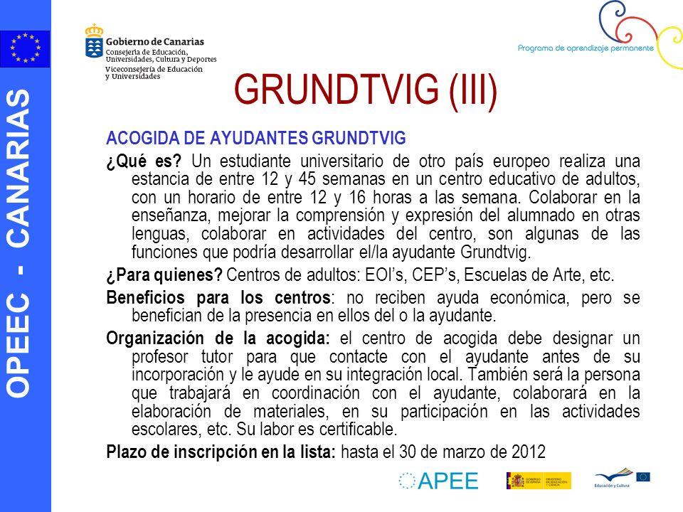 OPEEC - CANARIAS GRUNDTVIG (III) ACOGIDA DE AYUDANTES GRUNDTVIG ¿Qué es? Un estudiante universitario de otro país europeo realiza una estancia de entr