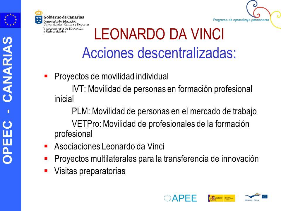 OPEEC - CANARIAS LEONARDO DA VINCI Acciones descentralizadas: Proyectos de movilidad individual IVT: Movilidad de personas en formación profesional in