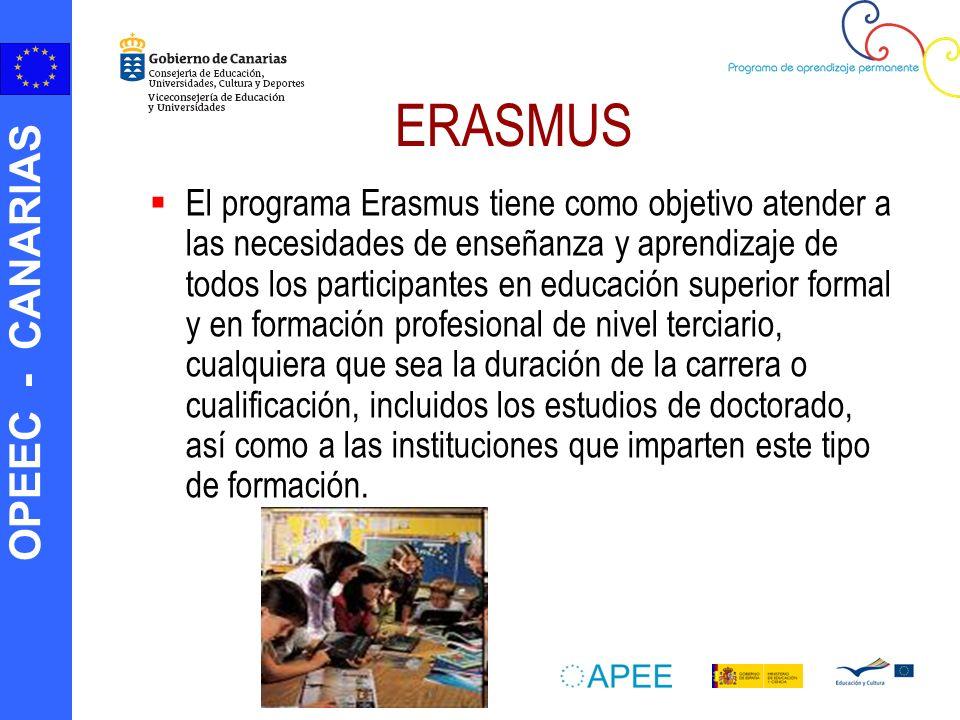 OPEEC - CANARIAS ERASMUS El programa Erasmus tiene como objetivo atender a las necesidades de enseñanza y aprendizaje de todos los participantes en ed